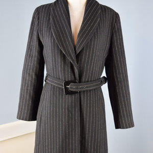 Kenneth Cole NY M 8 Black Brown Pinstripe Wool